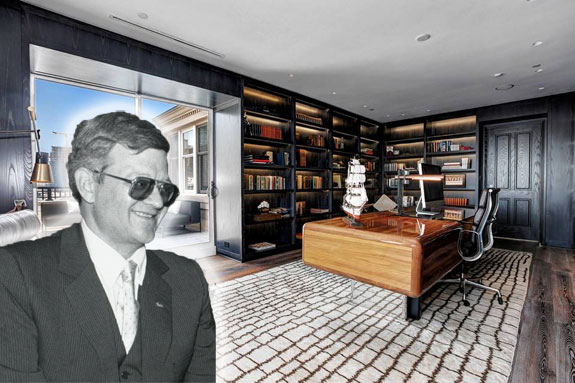 Tom Clancy (credit: Gary Wayne Gilbert -via Wikipedia) and his apartment (credit Homevisit)