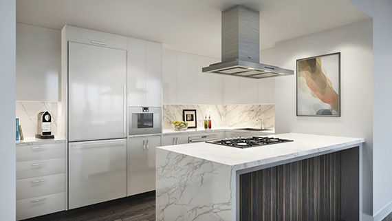 A kitchen rendering