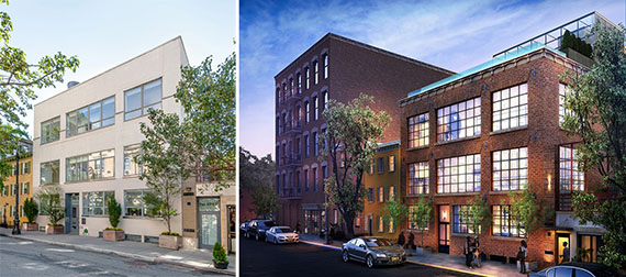 From left: current 134 Charles Street in the West Village and the rendering