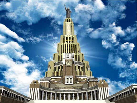 Construction of the 500-metre-tall Palace of the Soviets was halted for World War II and never began again.