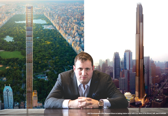 Michael Stern, flanked by 111 West 57th Street (left) and 9 DeKalb Avenue