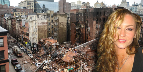 "The aftermath of the East Village explosion and ""Sopranos"" actress Drea de Matteo (photo credit: marcella_antonio pereira_guzman via Wikipedia)"