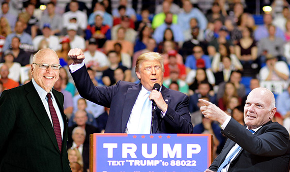 Donald Trump speaking at a campaign rally (inset from left: Howard Lorber and Steven Roth)