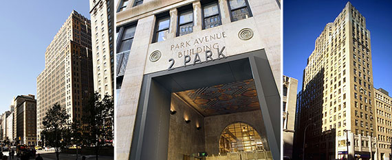 From left: 2 Park Avenue, the building's entrance and 386 Park Avenue South