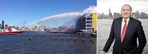 From left: A fireboat battling flames at the CitiStorage building on January 31 (credit: YouTube) and Norman Brodsky