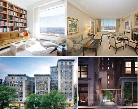 Clockwise: 432 Park Avenue 38A, 10 Gracie Square 11/12F, 235 West 75th Street and 1 Great Jones Aly