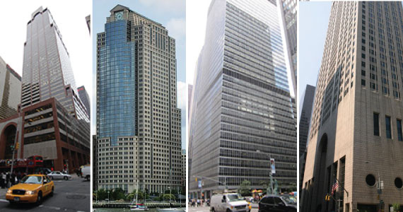 From left: 787 Seventh Avenue in Midtown, 388 Greenwich Street in TriBeCa, 1285 Sixth Avenue in Midtown and the Sony Building at 550 Madison Avenue in Midtown