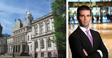 New York City Hall and Donald Trump Jr.