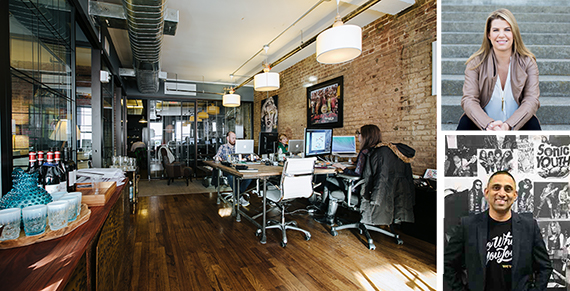WeWork space at 1 Little West 12th Street in Meatpacking (inset from top: Julia Davis and Francis Lobo)