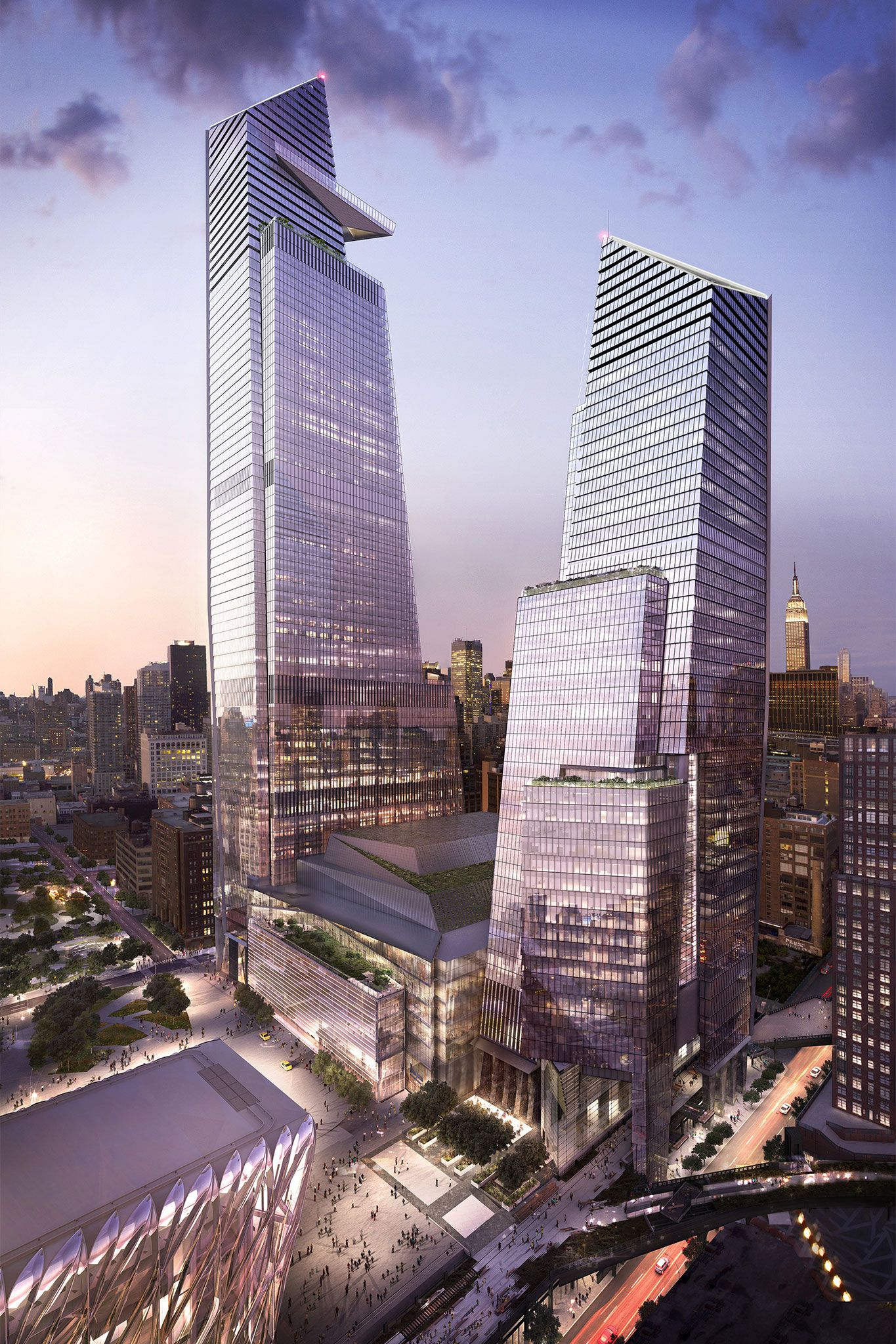 From left: 30 Hudson Yards, the shops and 10 Hudson Yards