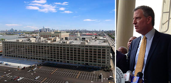 Liberty View Industrial Plaza in Sunset Park and Mayor Bill de Blasio