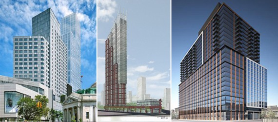 From left: renderings of 7 DeKalb Avenue, 333 Schermerhorn Street and 33 Bond Street