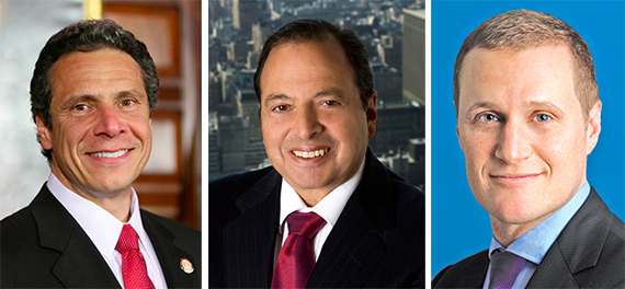 From left: Andrew Cuomo, Douglas Durst and Rob Speyer