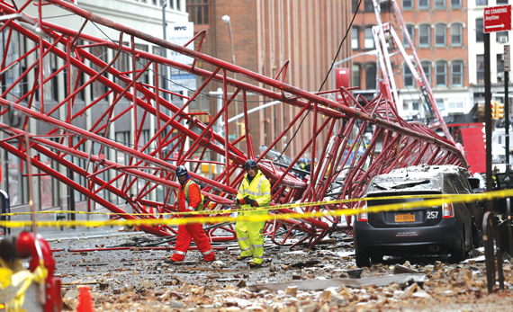 Worth Street following the Feb. 5 crane accident