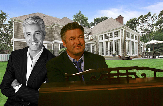 Guy de Chimay, 34 Hedges Banks Drive in East Hampton and Alec Baldwin playing a piano (Inset courtesy of NBC)