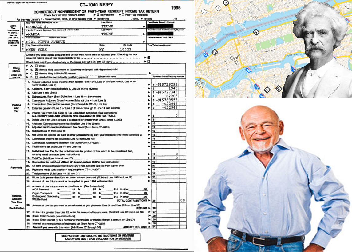 Clockwise from left: A portion of Donald Trump's 1995 tax returns, map of Manhattan and Mark Twain and Sam Zell