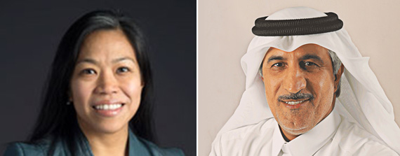 Maria Torres-Springer and Abdullah bin Mohammed Al Thani