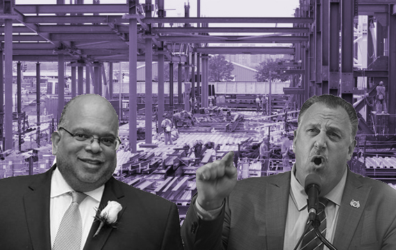 Construction site in New York City (inset from left: John Banks III and Gary LaBarbera)