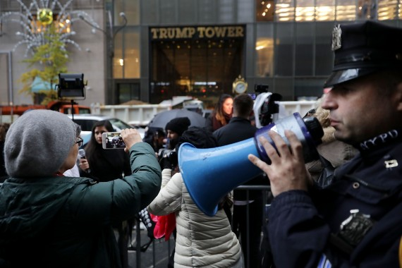Protesting outside of Trump Tower on Fifth Avenue (credit: Getty Images)