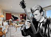 David Bowie and his former Essex House apartment (credit: Ron Frazier via Flickr and Corcoran)