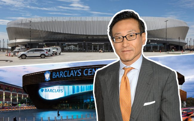 Alibaba co-founder Joseph Tsai with Nassau Coliseum in Uniondale and Barclays Center in Brooklyn (Credit: Getty Images, SHoP Architects, and Barclays Center)