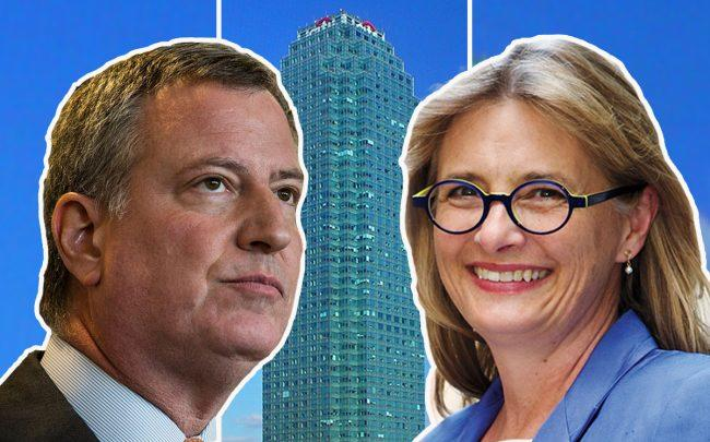 Bill de Blasio and Vicki Been and One Court Square (Credit: Getty Images and Wikipedia)