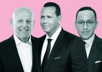 From left: Stonehenge NYC's Ofer Yardeni, Alex Rodriguez, and Modlin Group CEO Adam Modlin (Credit: Getty Images)