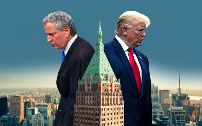 Mayor Bill de Blasio, 40 Wall Street, and President Donald Trump (Credit: Getty Images, 40 Wall St. via the Trump Organization)