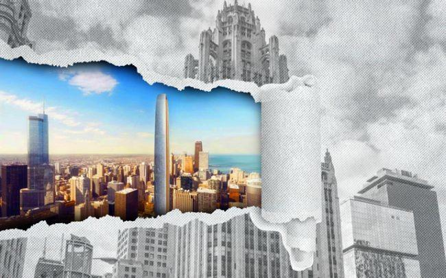 Tribune Tower at 435 North Michigan Avenue with a rendering of Tribune Tower East (inset) (Credit: CIM/Gloub via Curbed)