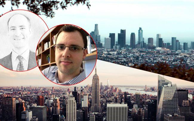 From left: Will Anderson and Etienne Uzac with California and New York skylines (Credit: LinkedIn)