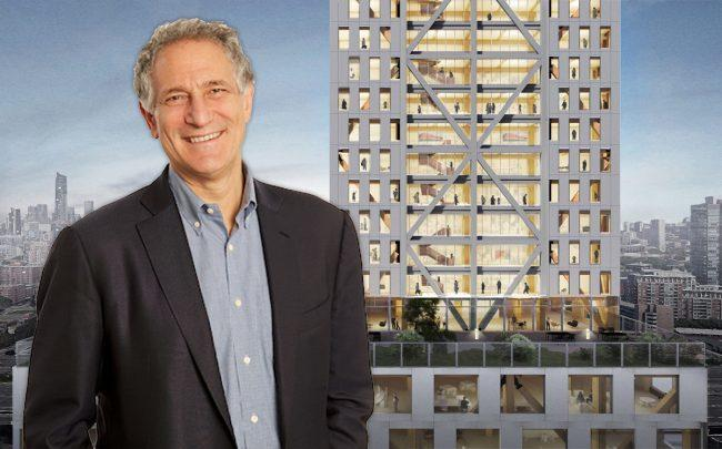 Sidewalk Labs CEO Dan Doctoroff and a rendering of the tower (Credit:Sidewalk Labs/Michael Green Architecture and Gensler)