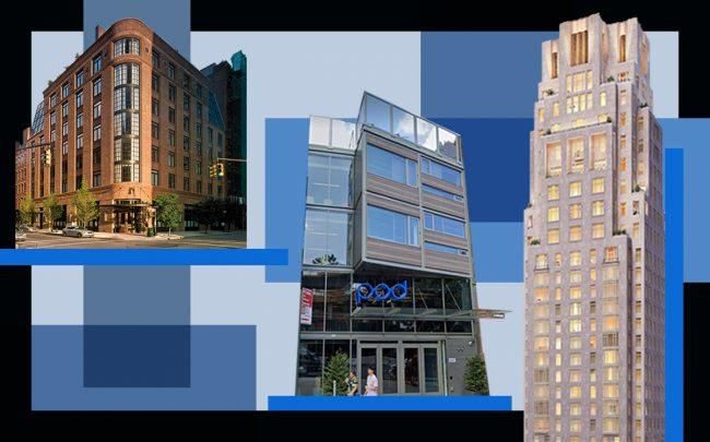 Greenwich Hotel, Four Seasons at 30 Park Place and POD Hotel Brooklyn (Credit: Greenwich Hotel, Thirty Park Place, Google Maps)