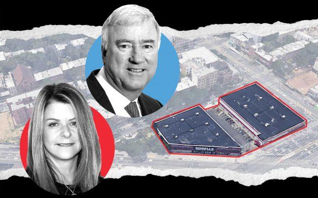 Former Forest City CEO MaryAnne Gilmartin and P.C. Richard executive Thomas Pohmer with Site 5 at Flatbush and Atlantic Avenues (Credit: Getty Images, IMA Long Island, and Google Maps)