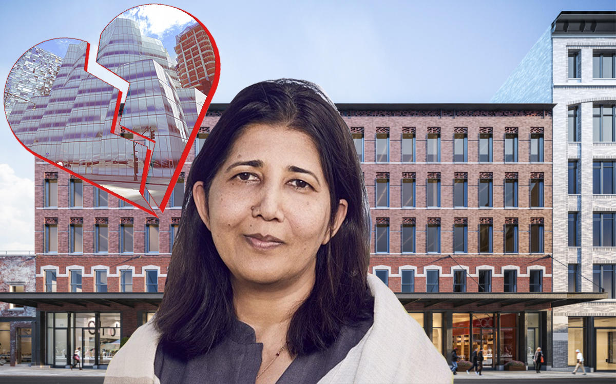 Match Group CEO Shar Dubey with a rendering of 60-74 Gansevoort and (inset) 555 West 18th Street (BKSK Architects, Google Maps)
