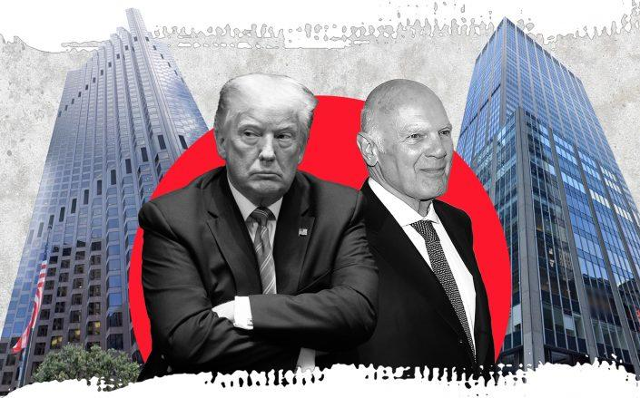 Donald Trump and Vornado's Steve Roth with 555 California Street in San Francisco (left) and 1290 Sixth Avenue in New York (right)