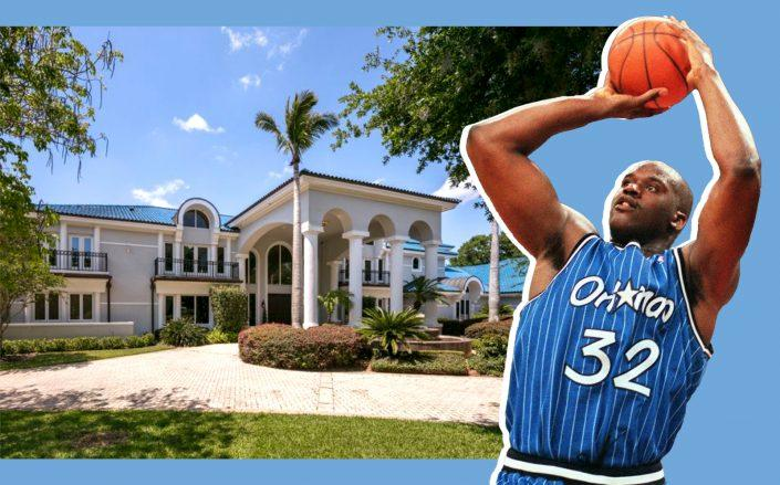 Shaquille O'Neal circa 1996 and the Orlando estate (Getty; Estate courtesy Sotheby's)