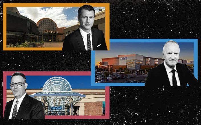 From top: Park Place Mall in Tucson, AZ with Brookfield Property Partners CEO Brian Kingston; Westfield Countryside in Clearwater, FL with Unibail-Rodamco-Westfield CEO Christophe Cuvillier; and The Mall at Tuttle Crossing in Dublin, OH with Simon Property Group CEO David Simon (Google Maps, Westfield, Simon, Getty)