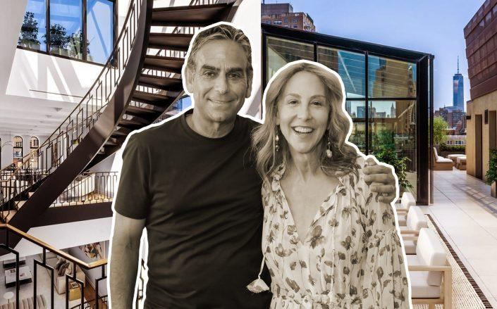 Michael and Elin Nierenberg and their newly purchased shelter at 66 East 11th Street.  (Getty, Douglas Elliman)