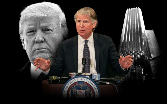 Donald Trump, Manhattan District Attorney Cy Vance and Trump Tower in New York (photos via Getty, Wikipedia Commons)