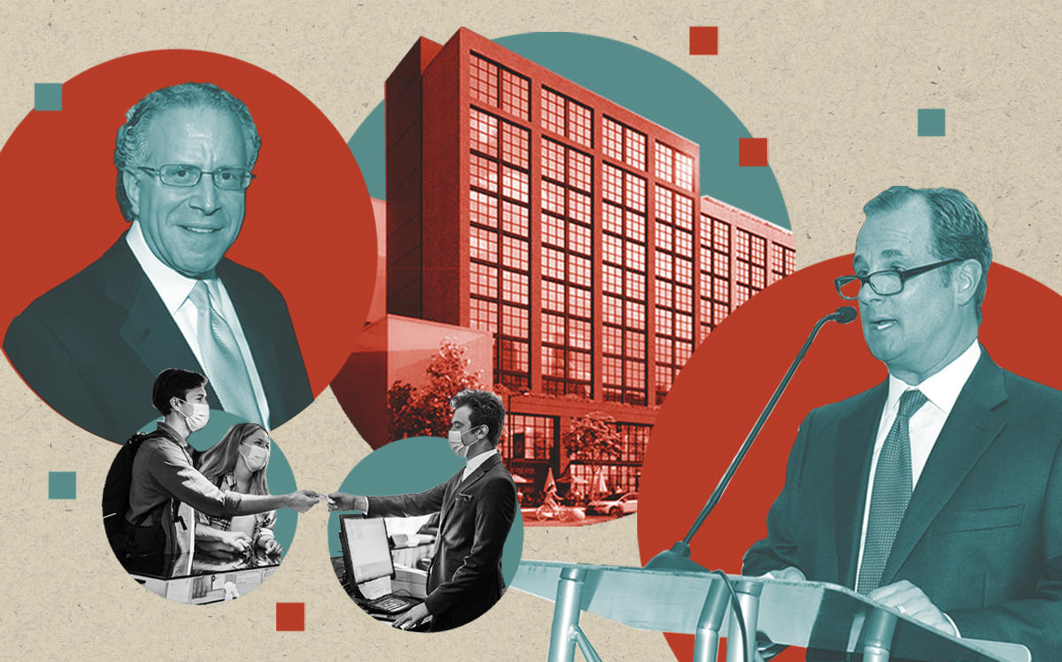 Lightstone Group CEO Mitchell Hochberg and Marriott International CEO Anthony Capuano with a rendering of The Moxy Williamsburg (Getty, Lightstone, iStock)