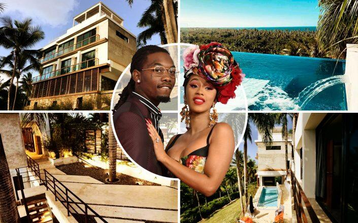 Offset and Cardi B with the Dominican Republic mansion (Getty, Airbnb, Celebrity Brokers Antonio Khoury and Brandi Hunter)